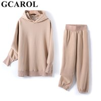 GCAROL Fall Winter Women Extra Long Hooded Suits 80% Cotton ...