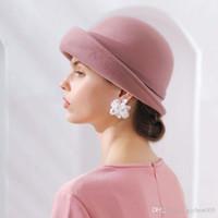 2020 En Iyi Fibonacci 2018 Yeni Marka Kalite Flanş Çiçek Yün Fedoras Kadınlar Sonbahar Kış Şapkaları Keçe Dome Zarif Ziyafet Fedora Şapka