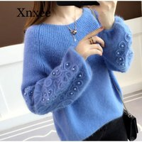 Women's Sweaters Knitted Pearl Embroidery Women Sweater Pullover O-Neck Long Sleeve Solid Female Blue Autumn Winter Ladies Pullovers