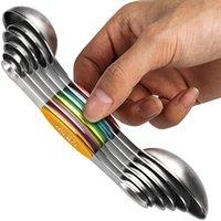 베이킹 도구 7/9 조각 스테인레스 스틸 더블 헤드 스케일 스크레이퍼 강한 자기 측정 숟가락