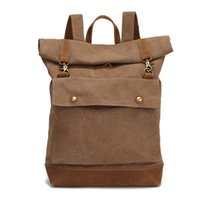 Backpack Large Capacity Rucksack Man Travel Bag Laptop Women Luggage Canvas Leather Shoulder Bags Roll Cover Men's Backpacks