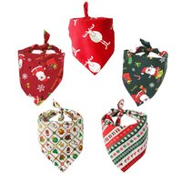 Adjustable Pet Dog Collar Puppy Bandana Christmas Gift Bibs Scarf Collars Cat Neckerchief Saliva Towel For Small Large Dogs Cats & Leashes