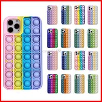 Pop It Fidget Toys Push Bubble Phone Cases For Iphone 12 Mini 11 Pro Relive Stress Relief Soft Silicone gel Cover CPA3456