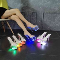 Sexy Nightclub Scarpe Sandali luminosi Sandali Patwalk Pole Dancing Transparent Crystal Donne LFD-10368-88 210517