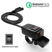 오토바이 퀵 충전기 듀얼 USB 3.0 포트 12V 방수 오토바이 핸들 바 차량 전압계 USB3.0 충전 장비