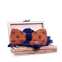 Linbaiway 참신한 남성 나무 나비 넥타이 손수건 커프스 단추 셔츠 결혼식을위한 세트 웨딩 핸드 머드 나무 Bowties Gravatas Cravats 넥타이 목