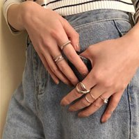 Cluster Rings 925 Sterling Silver Finger Ring INS Blogger Retro Vintage Minimalist Personality Interlaced Design Two-layer Opening Female