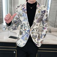 Men's Suits & Blazers 2021 Coats Brand Clothing Spring Upgrade Printing Business Suit Male Fashion Leisure Groom Dress Man Jackets S-3XL