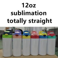 تماما مستقيم 12 أوقية التسامي الاطفال أكواب بالجملة الفولاذ المقاوم للصدأ زجاجات المياه مزدوجة معزول البهجة نقل الحرارة الرياضة chlidren الشرب الكؤوس A12