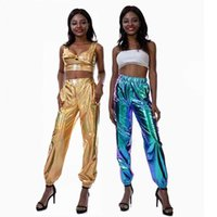 Womens Casual Hosen Freizeit Street Hip Hop Kleidung Party Glänzende Magische Damen Laser Frauen Sommer Lose Hosen Hosen Frau Damen Leggings G760I8N