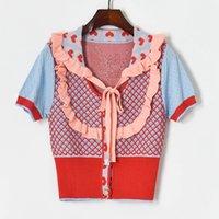 새로운 디자인 여성의 가을 여름 피터 팬 칼라 귀여운 러프 패치 워크 사랑 하트 자카드 니트 셔츠 티셔츠 스웨터 카디건 SML