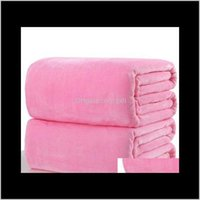 Textiles Home & Garden Drop Delivery 2021 Warm Flannel Fleece Soft Blankets Solid Bedspread Plush Winter Summer Throw Blanket For Bed Sofa Wy
