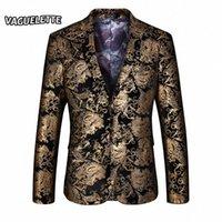 Оптовые - стильные золотые пиджаки мужчины напечатаны пейсли цветочный костюм куртка свадьба сцена одежда для певца золотой пиджак для мужчин m-4 x0ed #
