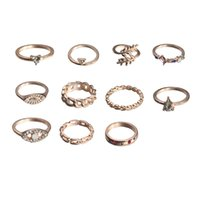 11-piece Band Rings fashion alloy leaf color diamond joint-ring simple and wild retro light luxury water drop imitation Opal rhinestone inlaid ring jewelry gift