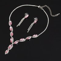 Earrings & Necklace G-Trendy Wedding Party Boutique Luxury Color Crystal Alloy Jewelry Set Fashion Statement Accessory