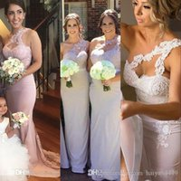 Cheap Arabic Mermaid Bridesmaid Dresses One Shoulder Lace Appliques Open Back Satin Sweep Train Wedding Gust Dress Maid of Honor Gowns