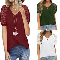 AC0177 Women' s T- Shi Jumpers Short Sleeve Deep V- neck T...
