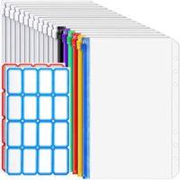 Storage Bags 12 Transparent Bags, 6Zipper Binder Envelopes, Suitable For 6 Notebook Cash Budget, Waterproof Document Bag