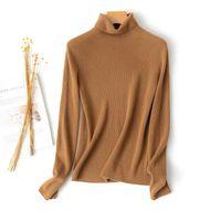 Suéter de cuello alto de Cashmere de Alashan, manga larga de manga larga de punto, suéteres de mujer top