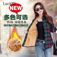 Blouses Femmes Chemises Luckbn épaissi coton épaissi coton pure coton femmes tops Chemise d'hiver à carreaux à manches longues à manches longues