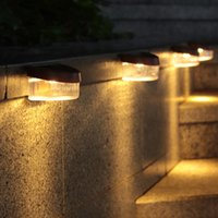 LED Solar Fence Lights Lamp Outdoor Waterproof Decoration Lighting for Patio Pathway Stairs Garden Yard Balcony Landscape Wall Lamps