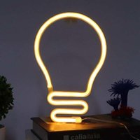 Night Lights Bulb Shape Neon Light LED Sign For Wall Decor Party Christmas Wedding USB Battery Powered