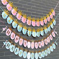 Ballet danseur papier couronne joyeux anniversaire bannière bannière fête décorations enfants garang garçon fille enfant bunting faveurs adultes fournit 2165 v2