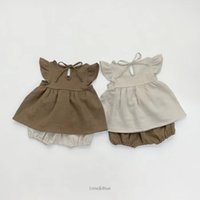 ZHBB INS Korean Australia Baby Girls Clothing Sets Summer Organic Linen Cotton Dresses with Shorts 2pieces Infant Toddler Outfits Clothes