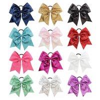 1 stks / partij 8 Sequin Cheer Bow Grote Haar Bogen Paardenstaart Houder Elastische Band Handgemaakte voor Cheer Leading Girls Hairaccessoires 888