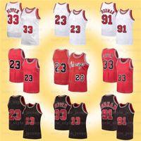 NCAA MJ 23 Michael Retro Jersey Dennis 91 Rodman Scottie 33 Pippen Bull Stripes Ness 1995 1996 Basketbol Forması