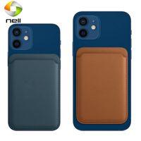 Manyetik Kart Tutucu iPhone 12 Mini Pro Max Mag Güvenli Güvenli Cüzdan Kart Deri Adsorpsiyon Taşınabilir Mıknatıs Telefon Geri Kart Çanta CA