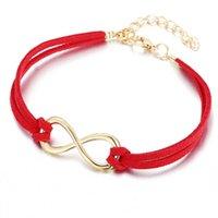 Chenfan Bijouterie مجوهرات أحمر محظوظ رقم 8 نسج عقدة سوار للنساء صفعة الإسورة الخيط الأحمر في هاء