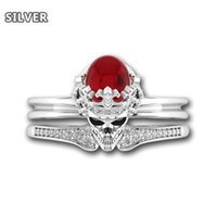 Crown skull Punk ring Rock gothic Red Crystal wedding for women set silver couple bridal accessory jewelry