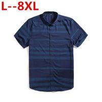 Plus Size 8XL 7XL 4XL Men's Short Sleeve Blue Oxford Dress Shirt Cotton Male Casual Striped Button Down Shirts 5XL 6XL Big