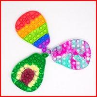 Big Size Avocado Push Bubble Fidget Toys Decompression RainbowColor Stress Relief Antistress Squishy Simple Dimple