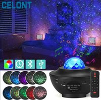 LED Star Ocean Wave Projector Night Light Galaxy Starry Sky Projector Night Lamp With Music Bluetooth Speaker For Childrens 210429