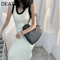 Casual Dresses DEAT 2021 Spring And Autumn Fashion O Neck High Waist Rimmed Sleeveless Slim Simple Knitted Vest Dress Women SL344