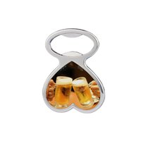 Heat Transfer Metal Beer Bottle Opener Fridge Magnet Sublimation Blank DIY Corkscrew Household Kitchen Tool 3 Style ZZC7845