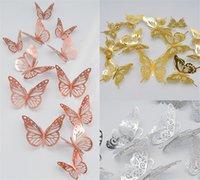 Party Favord 3D металлические текстуры бумаги полые бабочки стены наклейки дома украшения гостиной живущая комната симуляция симуляции твердого цвета высококачественный современный простой A12