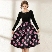 Casual Dresses Spring Summer Fall Runway Vintage Retro Floral Print O Crew Neck Long Sleeve Women Ladies Party A-Line Knee Skater Dress