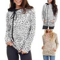 Fashion Zipper Leopard Printed Hooded Hoodies Casual Long Sleeve Loose Harajuku Women Tops Sweatshirts Plus Size#35 Women's &