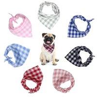 7 unids / lote algodón perro bandana collar de mascota cachorro bufanda pañuelo pañuelo pequeño collares medianos accesorios chihuahua correa