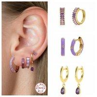 Hoop & Huggie CANNER Exquisite Purple Zircon Earrings 925 Sterling Silver Enamel Earring For Girls Pendientes Brincos Charming Jewerly
