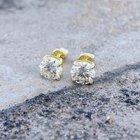 Zuanfa Hip Hop Bling 100% 925 Sterling Sier Stud Earrings 0.5ct 1ct Colored Diamond Blue Champagne Moissanite Earrings