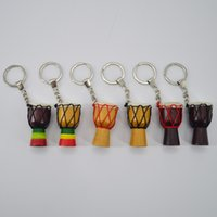 wood keychain Key Rings jewelry African drum key chain Musical Instruments key chains mixed color