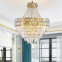 أضواء شنقا الحديثة الثريا الكريستال الصمام الفاخرة قلادة مصابيح تركيبات ديكور المنزل لغرفة المعيشة غرفة الطعام فيلا دوبلكس