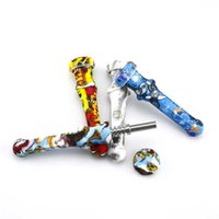 Factory kit for Printing pipe 4.6inches NC glass with Stainless Steel Tip Dab Straw s Silicone Smoking Pipe smo