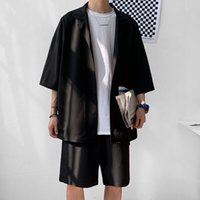2021 Men's Tracksuits Chinese Style Mens Set Suit Jacket and Shorts Solid Thin Short Sleeve Single Pocket Knee-Length Summer Oversized Clothing