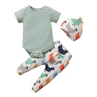 Infant Baby Boys Girls Romper Bodysuit+cartoon Chicken Printed Pants Hat Outfits Boy Clothing Kinder Kleider Jungs Sets
