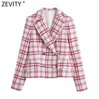 Zevity Donne Vintage Red Bianco Controllo plaid Plaid Stampa Blazer Cappotto Ufficio Ladies Manica lunga Manica Lunga Abiti Donna Femmina Chic Tops CT710 Blazer da donna